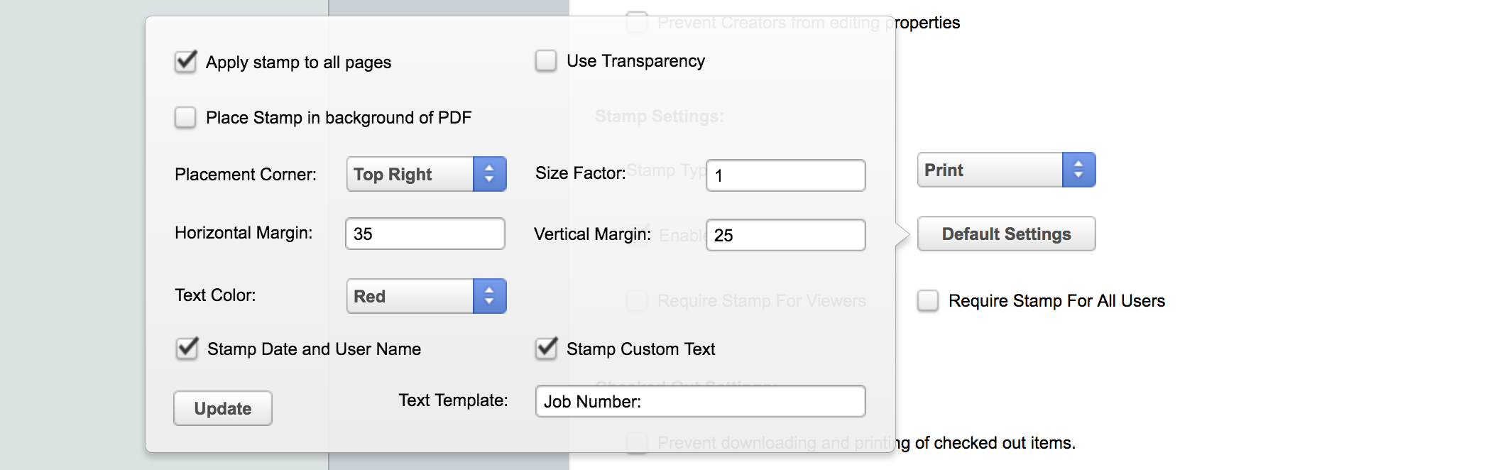 Print Stamp Settings